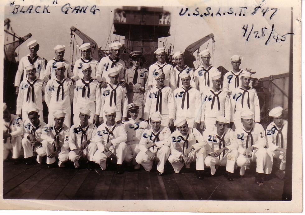 "Engineers (""Black Gang"") of the LST-847 after the Captain's Inspection, 28 April 1945, Pearl Harbor, Hawaii."
